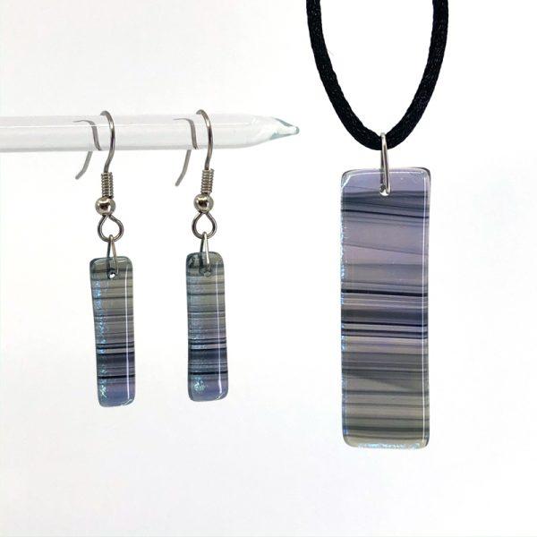 Black Iridescent Swirl Fused Glass Jewelry Set