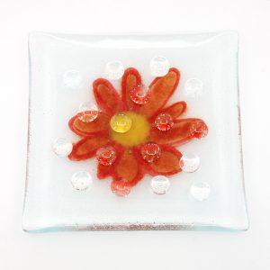 Fused Glass Garden Art Bee Waterer Butterfly Puddler Red Splash Daisy
