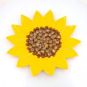 Fused Glass Garden Art Sunflower Sipper