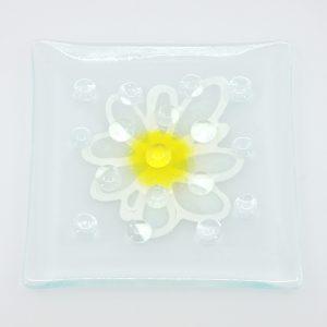 Fused Glass Garden Art Bee Waterer Butterfly Puddler White Splash Daisy