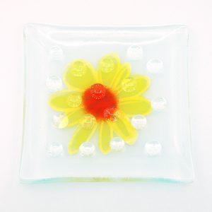 Fused Glass Garden Art Bee Waterer Butterfly Puddler Yellow Splash Daisy