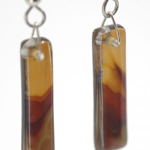 Close Up of Fused Glass Long Island Earrings