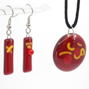 Fused Glass Jewelry Set Sangria Design
