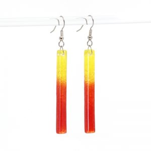 Fused Glass Earrings with Tequila Sunrise Design