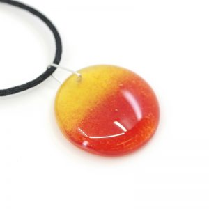 Fused Glass Pendant with Tequila Sunrise Design