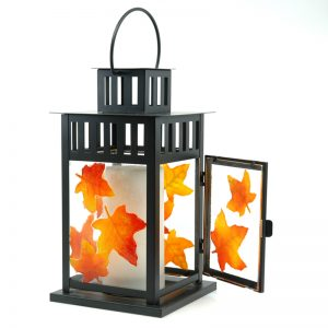 Fused Glass Autumn Lantern with Glass Leaves showing open door