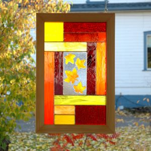 Stained Glass Autumn Window Panel with Fused Glass Leaves