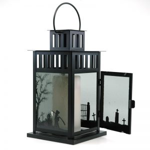 Fused Glass Graveyard Shift Lantern with open door