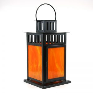 Fused Glass Pumpkin Spice Lantern