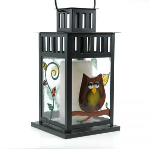 Fused Glass Sleepy Owl Lantern