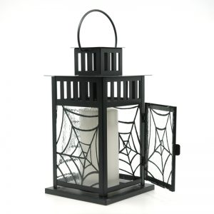 Fused Glass Spiderweb Lantern with door open