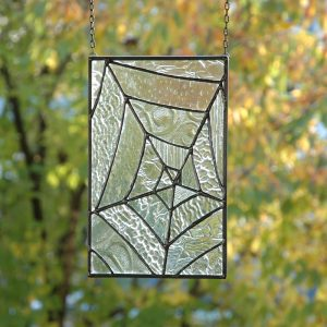 Stained Glass Spiderweb Window Panel