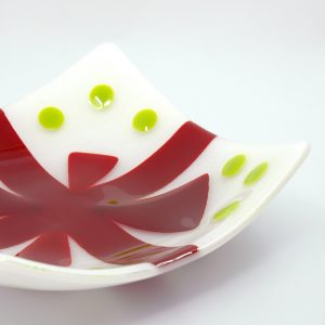 Christmas Bow Fused Glass Bowl