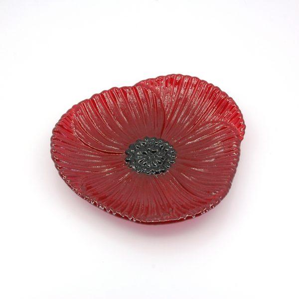 Crimson Poppy Plate with Texture