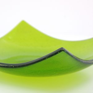 Close up of Green Fir Fused Glass Bowl