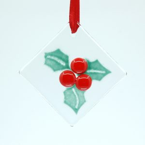 Holly Fused Glass Ornament