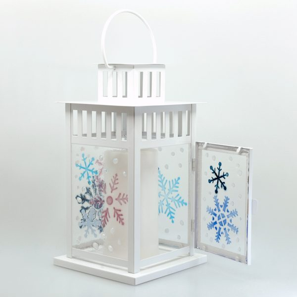 Let It Snow Fused Glass Lantern