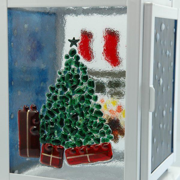 Night Before Christmas Fused Glass Lantern Detail
