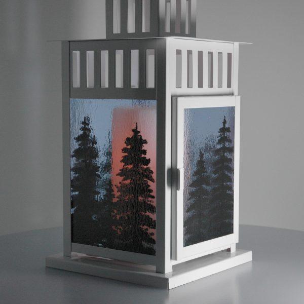 O Christmas Tree Hand Painted Fused Glass Lantern