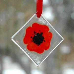 Poppy Sun Catcher Fused Glass Window Ornament