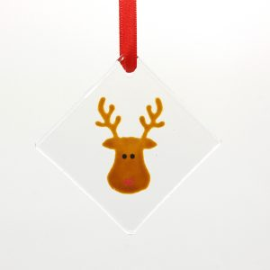 Rudolph Fused Glass Ornament