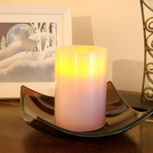 Sugar Plum Fused Glass Bowl with Candle