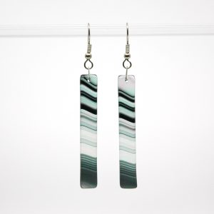 Black Iridescent Swirl Fused Glass Earrings
