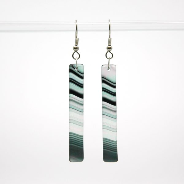 Black Iridescent Swirl Fused Glass Earrings