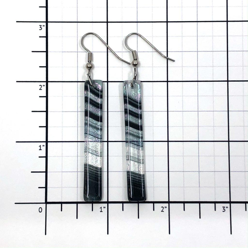Black Iridescent Swirl Fused Glass Earrings Size