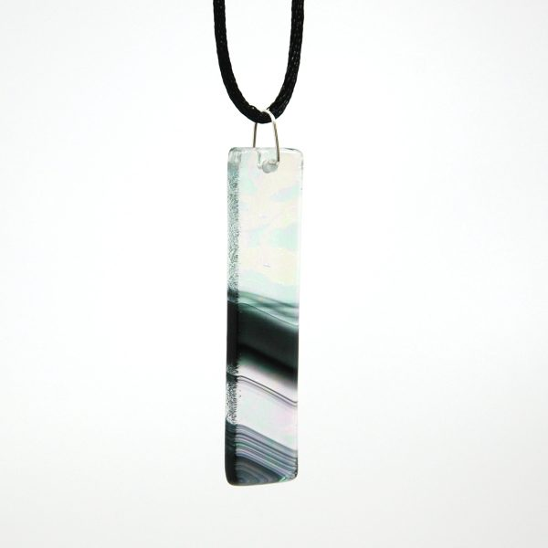 Black Iridescent Swirl Fused Glass Pendant