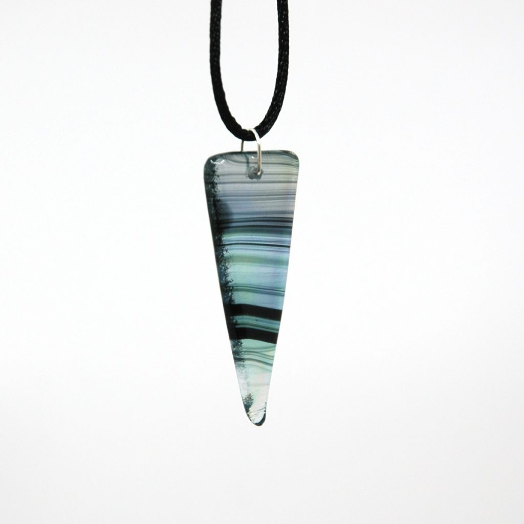 Triangle Black Iridescent Swirl Fused Glass Pendant