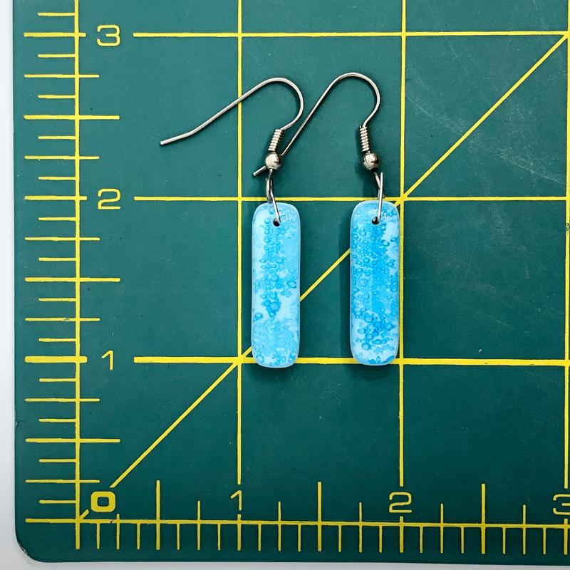 Cerulean Fused Glass Jewelry Set Earrings Size Chart