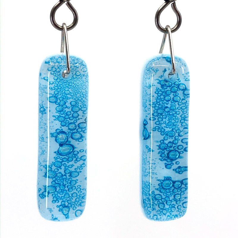 Close up of Cerulean Fused Glass Earrings