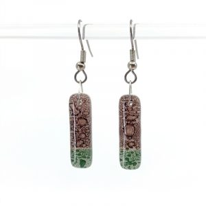Rosewood Moss Fused Glass Earrings