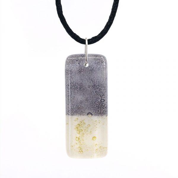 Eggplant Gold Fused Glass Pendant