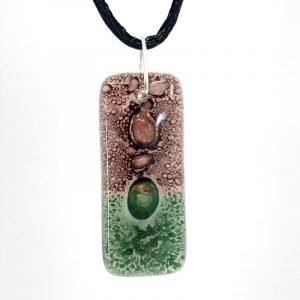 Rosewood Moss Fused Glass Pendant