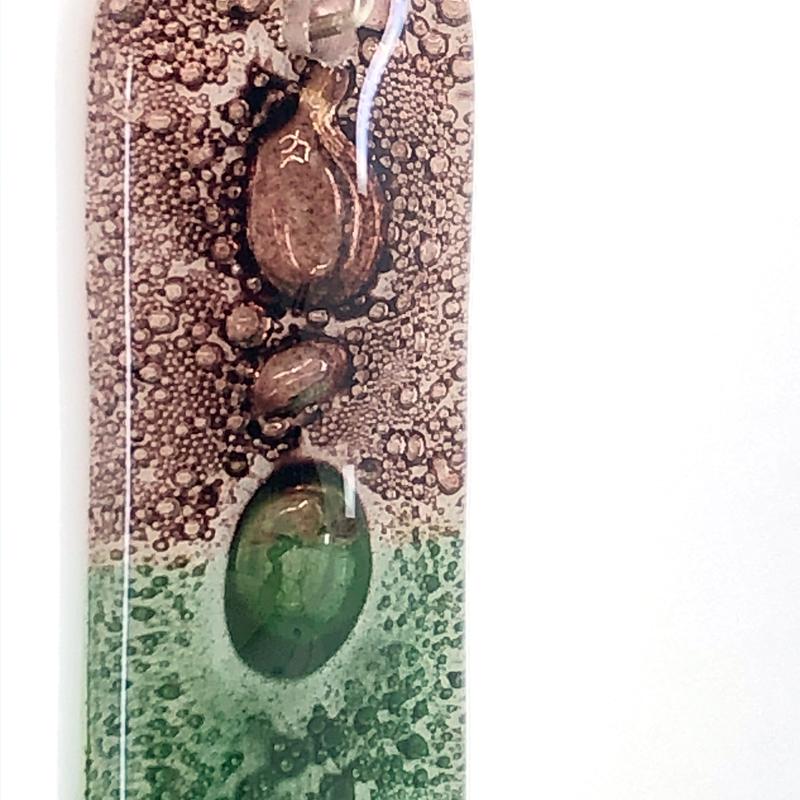 Closeup of Rosewood Moss Fused Glass Pendant