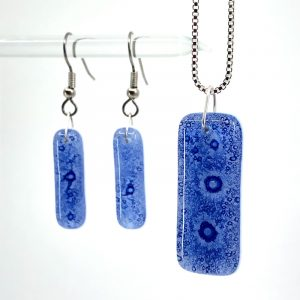 Sapphire Fused Glass Jewelry Set