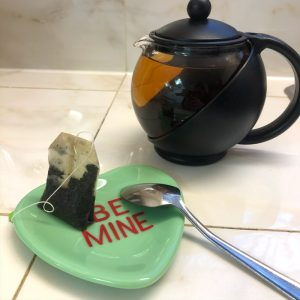 Green Fused Glass Conversation Heart Plate Be Mine Spoon Rest and Tea