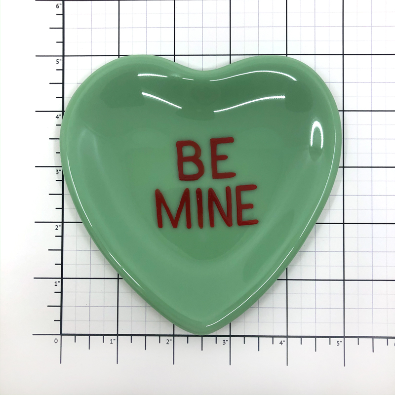 Green Fused Glass Conversation Heart Plate Be Mine Size