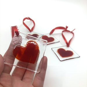 Heart Fused Glass Sun Catcher Size