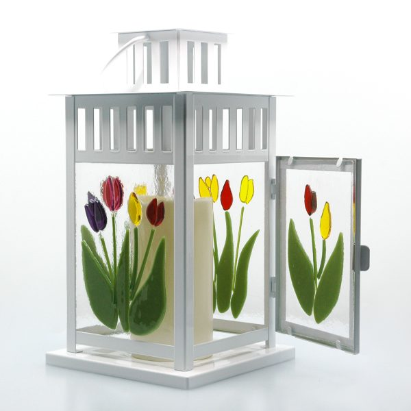 Spring Lantern Decor Fused Glass Tulip Lantern