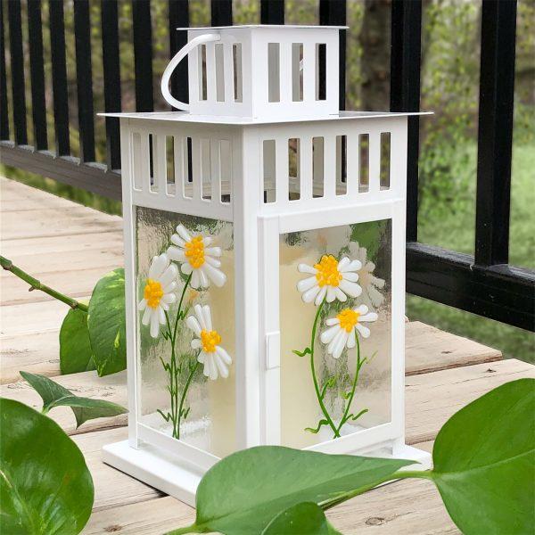 Spring Lantern Decor Fused Glass Daisy Lantern