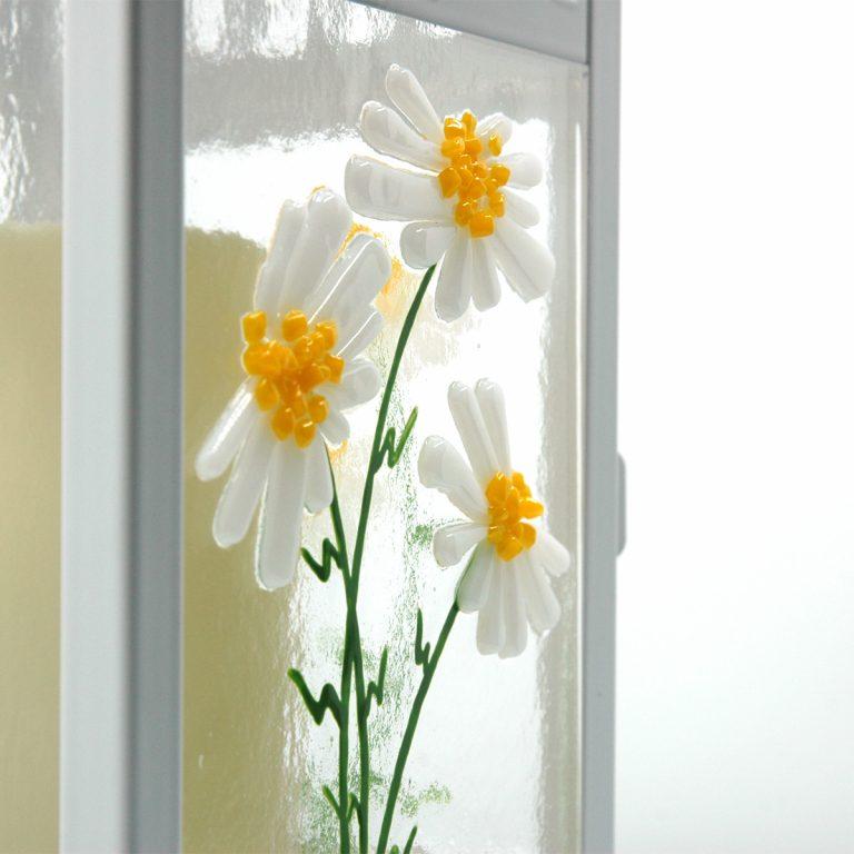 Close up of Spring Lantern Decor Fused Glass Daisy Lantern