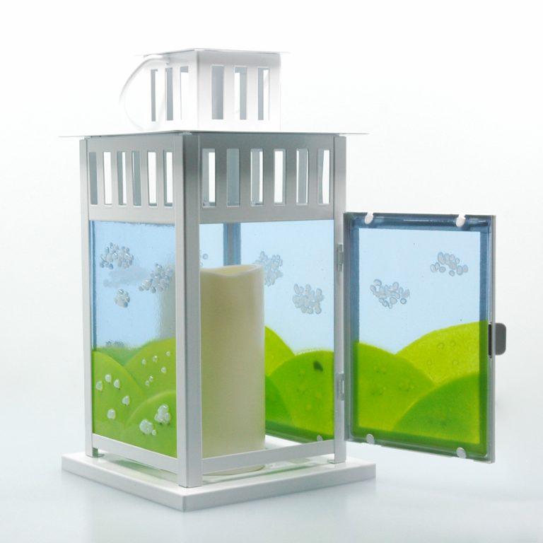 Spring Lantern Decor Fused Glass Sheep Flock Lantern