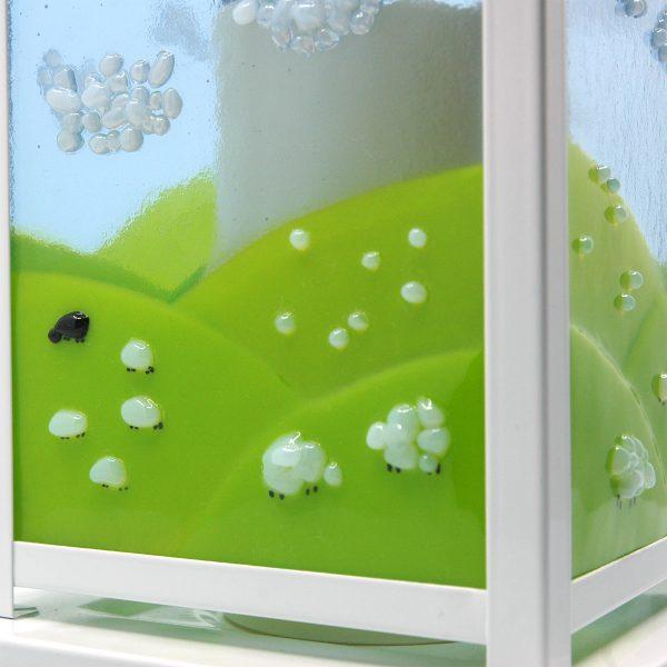 Close up of Spring Lantern Decor Fused Glass Sheep Flock Lantern