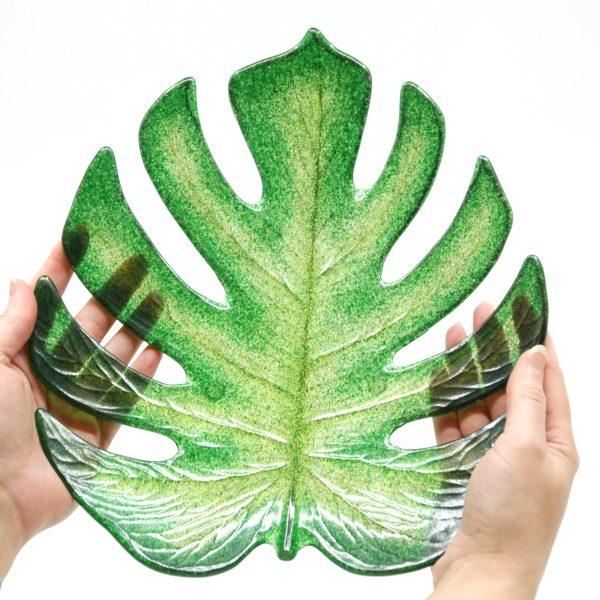 Monstera Leaf Fused Glass Bowl