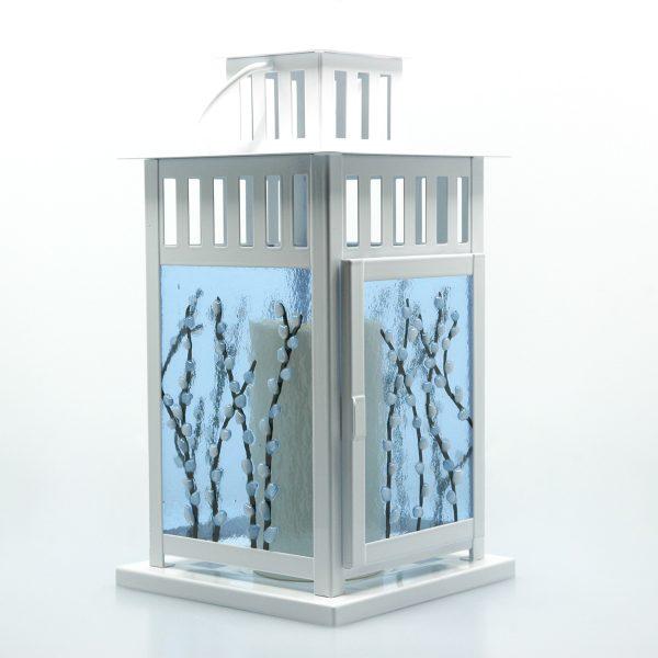 Spring Lantern Decor Fused Glass Pussy Willow Lantern