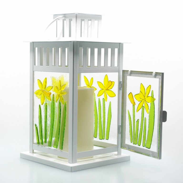 Spring Lantern Decor Fused Glass Daffodil Lantern