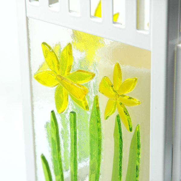 Close up of Spring Lantern Decor Fused Glass Daffodil Lantern